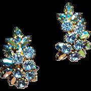 Vintage Schoffel Austria Icy Blue and Aurora Borealis Navette Rhinestone Spray Earrings