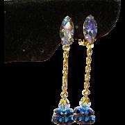 Vintage Lewis Segal Margarita Rhinestone Long Drop Pendant Earrings