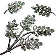 Vintage Star Art Sterling Rhinestone Leaf Spray Brooch / Pendant Earrings Set