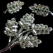 Vintage Star Art Sterling Rhinestone Leaf Spray Brooch / Pendant Earrings Set