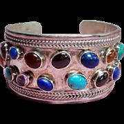 Vintage Sterling Semi Precious Cabochon Gemstones Wide Cuff Bracelet