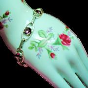 Vintage Lavender Open Back Crystals Sterling Bracelet