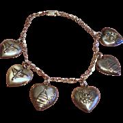 Vintage World War Two Sterling Puffy Heart Charm Patriotic Bracelet