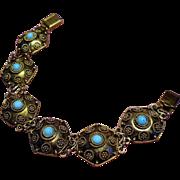 Vintage Persian Turquoise Sterling Gold Vermeil Bracelet