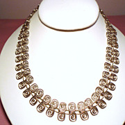 Vintage Mexico Sterling Open Scroll Link Necklace