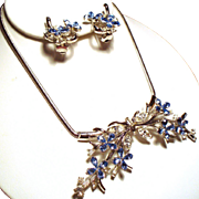 Vintage Trifari Alfred Philippe Star Flower Cornflower Blue Rhinestone Necklace Earrings Demi