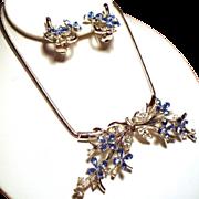 Vintage Trifari Alfred Phillipe Star Flower Cornflower Blue Rhinestone Necklace Earrings Demi