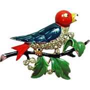 Vintage Trifari Alfred Philippe Enamel Bird on Branch Fur Clip Brooch