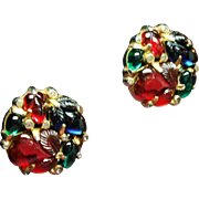 Vintage Trifari Fruit Salad Rhinestone Earrings
