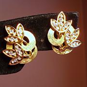 Vintage Trifari Clear Rhinestone Leaf Earrings