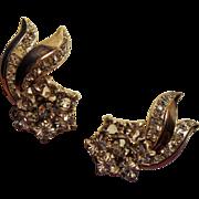 Vintage Trifari Sterling Comet Tail Rhinestone Earrings