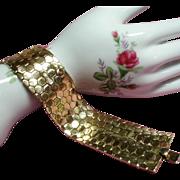 Vintage Trifari Tessellated Honeycomb Wide Bracelet