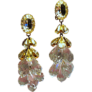 Vintage Schreiner Faceted Crystal and Lucite Briolette Shoulder Duster Earrings