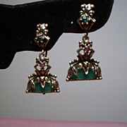 Vintage Unsigned Selro Green Glass Ornate Drop Earrings