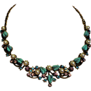 Vintage Unsigned Designer Faux Turquoise Molded Leaf Rhinestone Faux Pearls Necklace