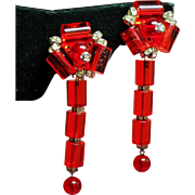 Vintage Unsigned Vendome Red Lucite Long Shoulder Duster Earrings.