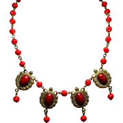 Vintage Victorian Revival Red Glass Drop Necklace