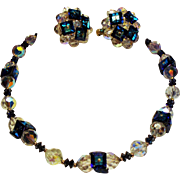 Vintage Vendome Faceted Crystal Square Caribbean Blue Crystals Necklace Earrings Demi Parure