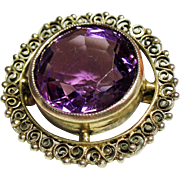 Antique Victorian Cannetille Brooch Large Faceted Amethyst