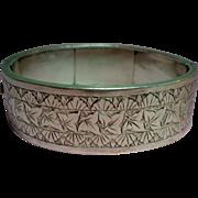 Antique Victorian English Ivy Sterling Bangle Bracelet