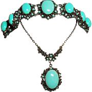 Vintage Victorian Revival Large Faux Turquoise Cabochon Stone Pendant Necklace Bracelet Demi .