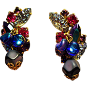 Vintage Sugary Art Glass Violet Raspberry Rhinestone Drippy Bead Climbing Earrings
