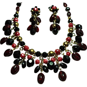 Vintage West Germany Cranberry Black Drippy Bead Necklace Long Earrings Demi Parure