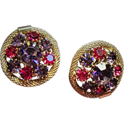 Vintage Weiss Fuchsia Violet Rhinestone Earrings