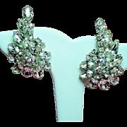Vintage Weiss Clear Navette Rhinestone Climbing Earrings