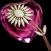 Vintage White Milk Glass Rhinestone Long Stem Daisy Flower Brooch
