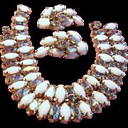 Vintage White Navette Rhinestone Twin Bracelets Earrings Demi Parure