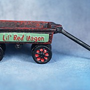 SALE Vintage Miniature Toy Cast Iron  Red Wagon