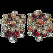 Juliana D&E Red Rhinestone Earrings with faux Pearl Dangles