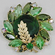 Juliana Green Rhinestone Pin with Goldtone Leaf Accent