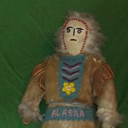 Antique Eskimo Early Inuit Folk Art Alaska Souvenir Doll Beaded Leather Fur Original Old Stand