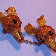 Rare Art Deco Era Applejuice Prystal Bakelite Era Fox Head Pin Brooch Pair Set Scatter Pin