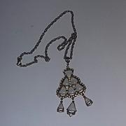 Scarce  Hollycraft Christmas Tree Borealis Opaque Rhinestone Bell Necklace VINTAGE