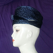 Jack McConnell NY Vintage Rare Red Feather Cloche Hat Black Velvet Blue Rhinestone Polka Dots