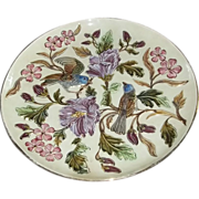 Large Charger Plate BIRDS German Majolica Charger Plate GORGEOUS Estate Rare