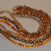 Necklace Vintage 14 kt Gold Clasp Torsade Amber Pearls Crystal Beautiful Estate