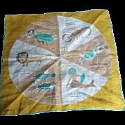 SALE Vintage Mid Century Modern Tammis Keefe Zodiac Astrology Hanky Hankie Scarf Textile