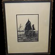 Folk Art Scherenschnitte Cut Paper Art Ships Finely Executed Estate Silhouette