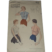 True Vintage VOGUE Blouse Shirt Sewing Pattern Uncut 1950's Size 18