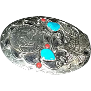 True vintage sterling silver dollar belt buckle western design turquoise coral eagle