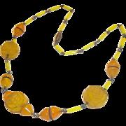 True Vintage Antique Art Deco Glass Necklace YELLOW Beads Stunning Estate Rare
