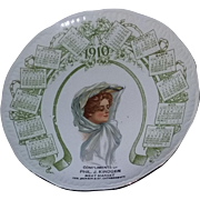 True Antique Vintage Victorian Gibson girl advertising calendar plate Louisville Kentucky ...