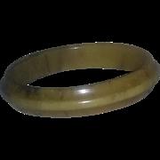 True vintage art deco era ribbed butterscotch bakelite bangle bracelet estate 40s