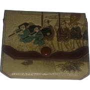 True vintage Japanese Oriental tooled leather wallet ART estate Meiji era