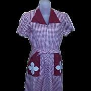 True vintage 40's 50's red check rockabilly Dress