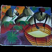 True Vintage Haiti Haitian Oil Painting signed Market Scene estate